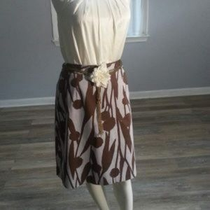 Boden abstract dandelion pencil skirt brown & gray